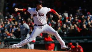 Apr 5, 2018; Boston, MA, USA; Boston Red Sox relief pitcher Carson Smith (39) throws a pitch against the Tampa Bay Rays in the eighth inning of the home opener at Fenway Park. Mandatory Credit: David Butler II-USA TODAY Sports