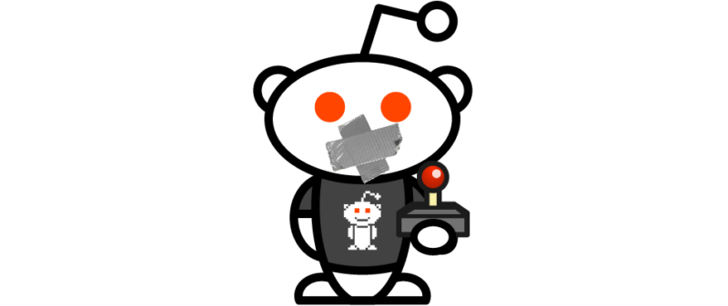 """An official Reddit """"Snoo"""" mascot was used to advertise the site's gaming content in 2018. Today, it's got duct tape on its mouth for a reason."""